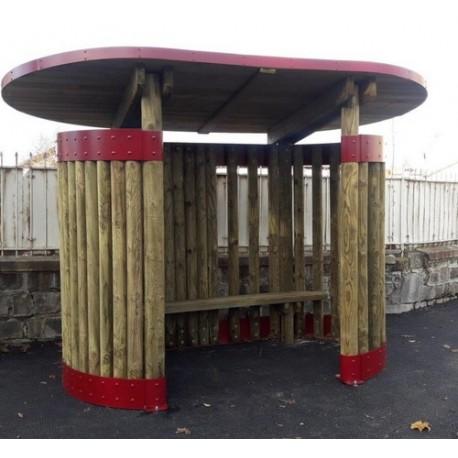 Abri bus en bois design